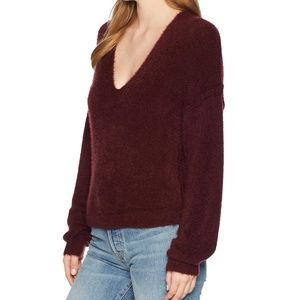 Free People Princess V Top Sweater Burgundy XS